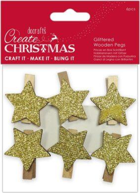 kolíčky PMA 174949 dřevo/hvězda zlatá 6ks(5038041058228)