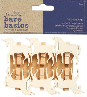 kolíčky PMA 174528 dřevo jednorožec Natur 6ks(5038041064342)