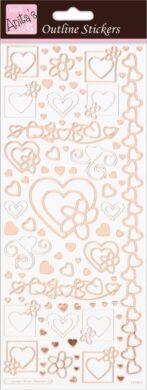 DO samolepky ANT 810287 Hearts Rose Gold On White(5038041067824)