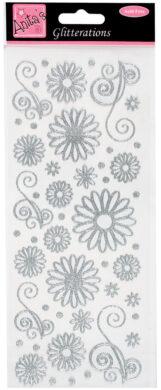 DO samolepky ANT 8181021 květy stříbrné glitr(5038041930616)