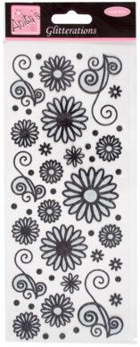 DO samolepky ANT 8181023 květy černé glitr(5038041930678)