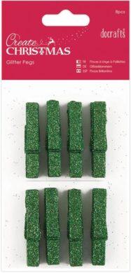 kolíčky PMA 174927 dřevo/zelené glitr 8ks(5055170161711)