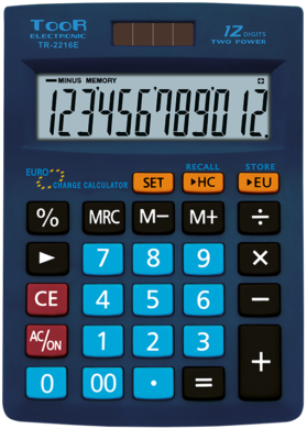 kalkulačka KW TR-2216E EURO 12 míst modrá 120-1872(5903364218249)