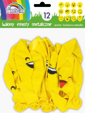 balónky  12ks Emoty Party metalic žluté 170-2347(5903364264574)