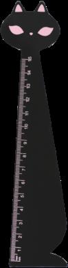 pravítko dřevo 15cm kočka černá 130-1881(5903364277581)