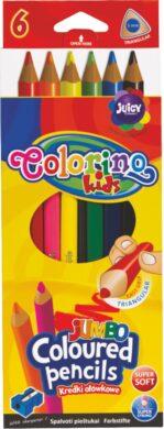 pastelky Colorino trojhranné Jumbo  6ks + ořezávátko(5907690815516)