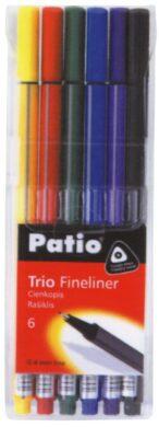 popisovač fineliner 0.4 mm TRIO  6ks mix barev(5907690818548)