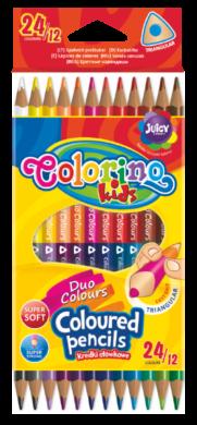 pastelky Colorino trojhranné 24 barev/12ks oboustranné(5907690833046)