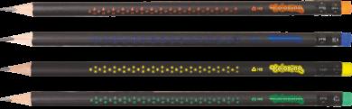 tužka Colorino trojhranná  s gumou - tělo černé s hvězdičkami  - 450(5907690865450)