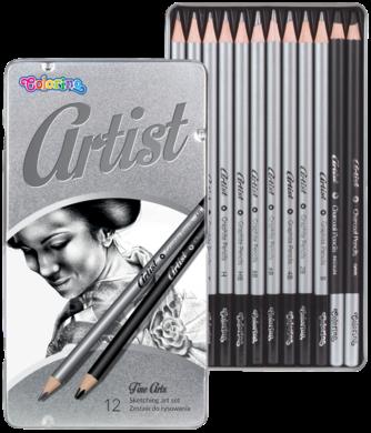 tužky grafitové umělecké Colorino Artist 12ks kovová krabička(5907690880118)