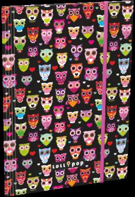 desky  3 klopy s gumou A5 Lollipop Black Owl 15360501(5997416536054)