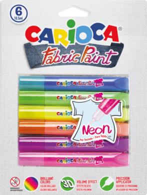 barvy dekorační na textil Carioca 3D neon(8003511421311)