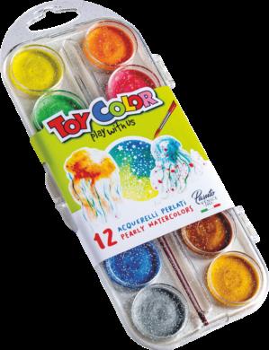 barvy vodové 30mm Toy Color perleťové 12ks(8015189007674)