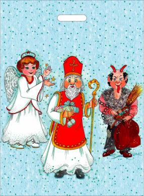taška mikulášská 60 x 44 XXL Mikuláš, čert a anděl(8594028133212)