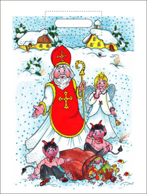 taška mikulášská 46 x 35 Mikuláš v zimní krajině(8594028133229)