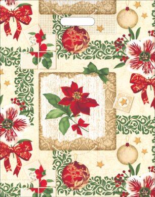 taška  vánoční 46 x 35 růže s mašlí, ozdoby(8594028133588)