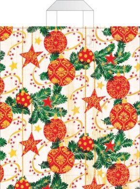 taška  vánoční s uchy 46 x 39 červenozlaté hvězdy a ozdoby(8594028133830)
