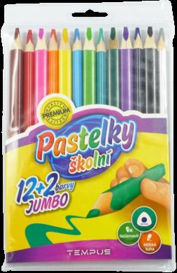 pastelky   Tempus 1313 trojhranné jumbo 12+2 barvy(8594033823276)