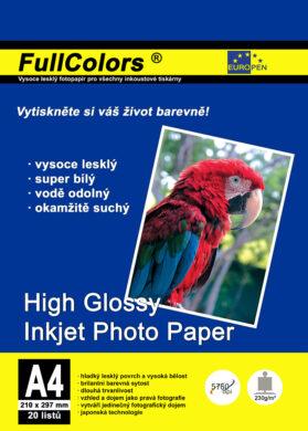 fotopapír Europen A4 230 g  20 ks vysoce lesklý(8594033823900)
