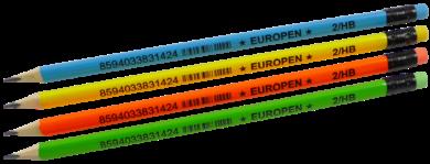tužka  Europen HB s gumou - mix neon barev(8594033831424)