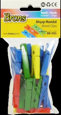 kolíčky BR-905 dřevo 40mm 24ks mix barev(8680628007838)