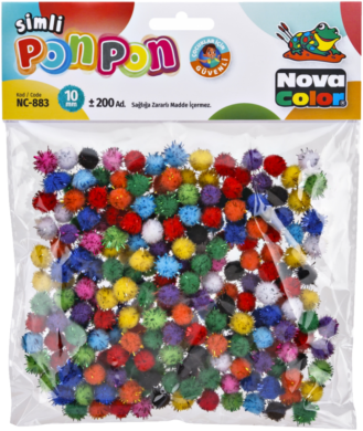 pom poms NC-883 10mm glitter mix 200ks  (8681861004691)