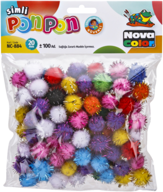 pom poms NC-884 20mm glitter mix 100ks  (8681861004707)