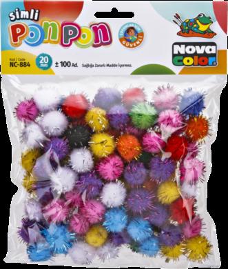 pom poms NC-884 20mm glitter mix 100ks(8681861004707)