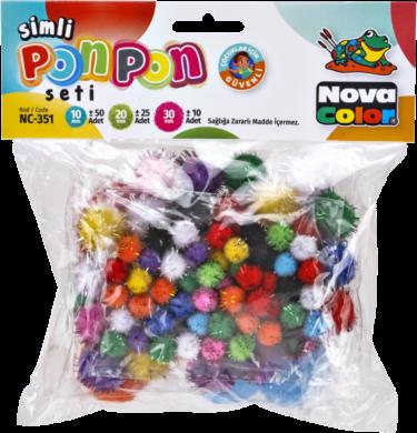 pom poms NC-351 10-30mm mix glitter 85ks(8697405220571)