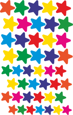 a samol.STC-129 hvězdy bar.mix různé vel. 132ks(8698807751434)