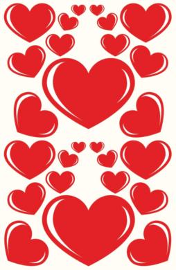 a samol.STC-132 srdce červená různé vel. 66ks(8698807751465)