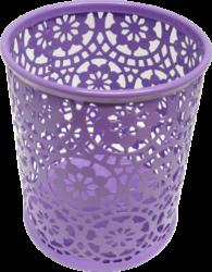 stojánek drátěný na tužky kulatý Europen fialový-rozměr: 8,4 x 10 cm