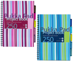 blok PUKKA A4 PROB spir. 250str.linka s rozdruž.-Projektový blok Pukka Pad Stripes formátu A4, s proužky, mix barev - PRODEJ POUZE PO BALENÍ