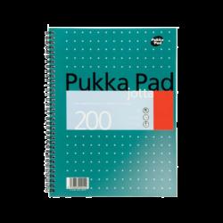 blok PUKKA METALLIC spir.A4 200str. linka JM018-Poznámkový blok s boční spirálou, A4 100 listů, linkovaný. Perforované stránky. Papír 80g/m2.