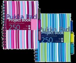 blok PUKKA A5 PROB spir. 250str.linka s rozdruž.-Projektový blok Pukka Pad Stripes formátu A5, s proužky, mix barev - PRODEJ POUZE PO BALENÍ