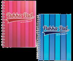 blok PUKKA A5 8543-44 VOG Jotta proužky spir. 200str.linka-Spirálový blok Pukka Jotta Pad Stripe Vogue formátu A5, mix barev - PRODEJ POUZE PO BALENÍ