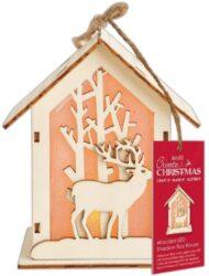 dekorace PMA 174952 domeček/jelen LED-dřevěný domeček s LED osvětlením