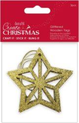 dekorace PMA 359927 dřevo hvězda zlatá 3ks