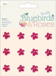 kamínky samolepící kytičky PMA 356149 12ks - Bluebirds & Roses