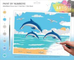 malování podle čísel DOA 550703 - Leaping Dolphins-obsahuje vše, aby vaše děti mohly začít hned po vybalení malovat