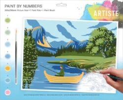 malování podle čísel DOA 550704 - Lakes + Mountains-obsahuje vše, aby vaše děti mohly začít hned po vybalení malovat