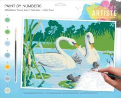 malování podle čísel DOA 550705 - Serene Swans-obsahuje vše, aby vaše děti mohly začít hned po vybalení malovat