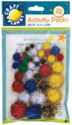 pom poms CPT 6621101 assort glitter 42ks