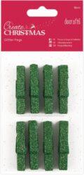 kolíčky PMA 174927 dřevo/zelené glitr 8ks