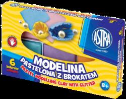 modelína ASTRA teplem tvrditelná  6 barev - PASTEL GLITTER-TEPLEM TVRDITELNÁ