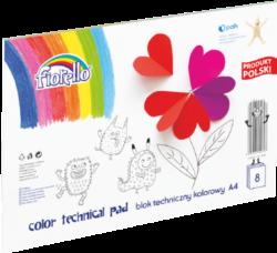 blok F barevný karton A4 mix 160g 8l 150-1438