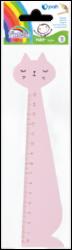 pravítko dřevo 15cm kočka růžová 130-1882(5903364277604)