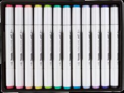 popisovače Colorino Artist oboustranné 12ks pastel-Vysoce kvalitní skicovací popisovače se dvěma hroty