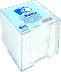 kostka nelepená  bílá v plast.zásobníku 8x8 800 listů