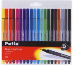 popisovač fineliner 0.4 mm TRIO 20ks mix barev